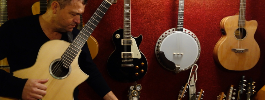 Richard Durrant with guitars